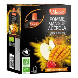 Vitabio Gourde 100% Fruits - 4 compotes pomme / mangue / acérola