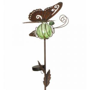 L'héritier du temps Papillon solaire pic tuteur de jardin lumineux tige motif feuille en fer marron et boule en verre craquelé vert 20x23,5x76cm