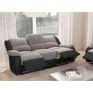 LesTendances Canapé 3 places relax microfibre gris et simili cuir noir Relaxo