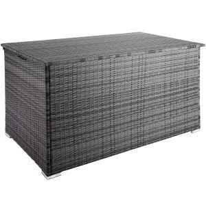 TecTake Coffre de Jardin de Rangement extérieur 950 L en Résine tressée et Aluminium Gris