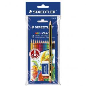Staedtler Etui de 12 crayons de couleur Noris Club + 1 crayon à papier + 1 gomme