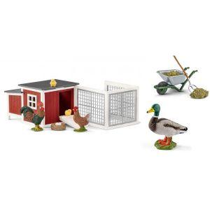 Schleich Figurines animaux et accessoires de la ferme (poulailler, canard, kit de nettoyage)