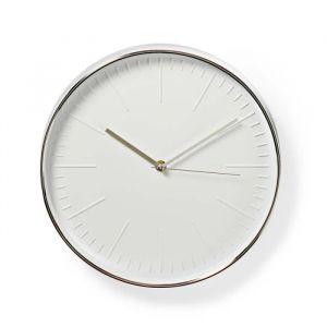 NEDIS Horloge murale circulaire Ø 30 cm Blanc et Argent