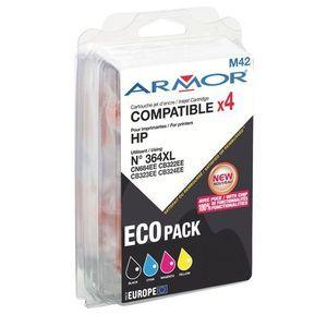 Armor Pack de 4 cartouches noir et couleurs compatibles HP N 364XL BK C M Y