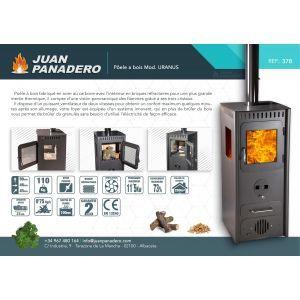 Juan Panadero Uranus - Poêle polycombustible (bois et granulés) 11,5 kw