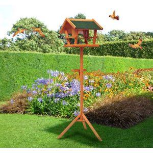 Homcom Mangeoire sur pied nichoir à plateau Station à oiseau bois pour extérieur 150 cm