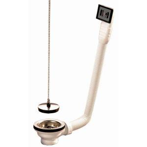 Nicoll 0204601 - Bonde à bouchon avec trop plein souple pour évier grès Diamètre 60 mm