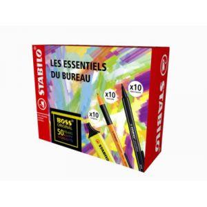 Stabilo Surligneur Boss Original - pack de 10 - jaune + stylo feutre point Max - noir - pack de 10 + stylo feutre pointball - noir - pack de 10 - coffret de 30 pièces