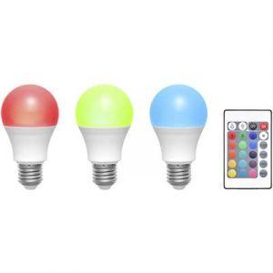 Basetech Ampoule LED E27 TRGB-6W-16, 3 pcs set forme standard 6 W RVBB (Ø x L) 60 mm x 108 mm EEC: classe A à couleur c