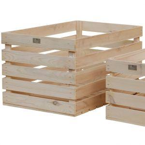 Estwood Caisse en bois de pin naturel 59,5x39x33 cm