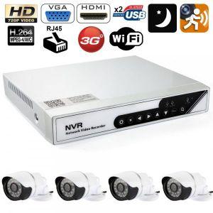 Yonis Y-kvs29 - Kit NVR vidéosurveillance enregistreur 4 caméras 3.5mm IP 720p WIFI