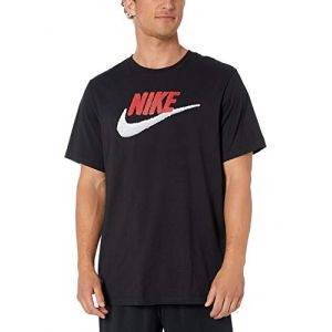 Nike M NSW Tee Brand Mark T-Shirt Homme, Black/University Red/White, FR (Taille Fabricant : XL)