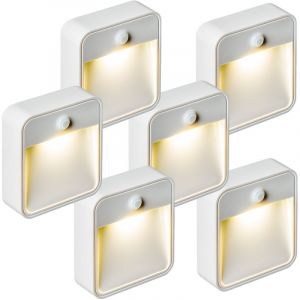 TecTake Lampe LED, Lampe murale, Lampe Présence, Veilleuse, Sans Fil, avec capteur détecteur de mouvement LED Par 6