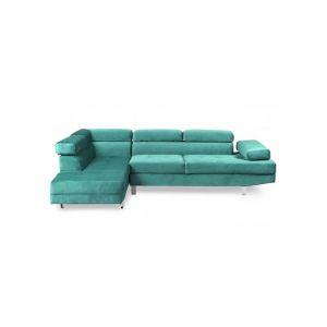 LesTendances Canapé d'angle gauche avec têtières relevables velours vert Anya
