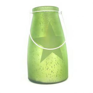 Verre bocal vert avec étoile lumineuse 10 LED de 13x15 cm