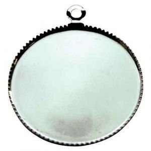 Creavea Support pendentif plateau rond pour cabochon 24 mm - Argenté