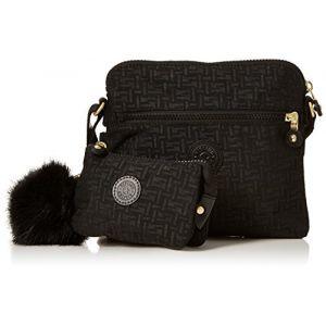 Kipling Foxwell Duo, Porte-monnaie femme, Noir (Black Pylon Emb), 3x21.5x20 cm (B x H T)