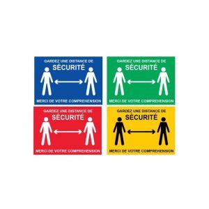 Novap Panneau Garder une distance de sécurité - Bleu - Rigide A4