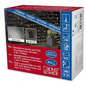 Konstsmide Filet lumineux avec minuterie pour lextérieur fonctionnement à piles 40 LED blanc chaud