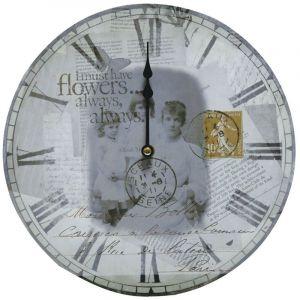 Eglo Horloge murale rétro vintage chiffres romains carte postale heure salle Á manger