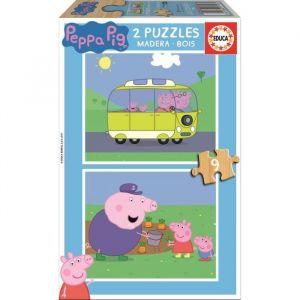 Educa Peppa Pig - 2 puzzles de 9 pièces en bois