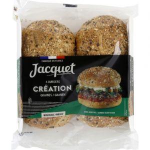 Jacquet Pain spécial pour hamburger saupoudré de graines et de céréales