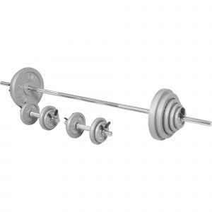 Gorilla Sports Kit d´haltère100kg barre longue170cm et deux barres courtes35cm avec stop disques inclus