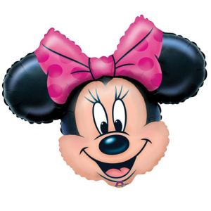 Ballon tête de Minnie noeud rose