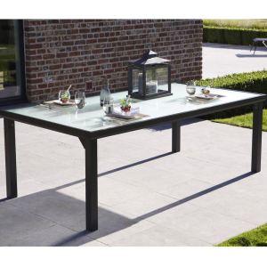 Table de jardin rectangulaire Blacksun en aluminium et plateau en verre 210 x 105 x 72 cm