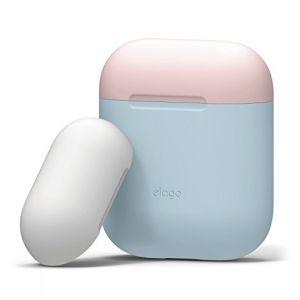 Elago Étui Duo Compatible avec Apple AirPods 1 & 2 (Témoin LED Non Visible) [Deux Capuchons] [Protection en Silicone] [Ajustement Parfait] - (Corps - Bleu Pastel/Top - Rose, Blanc) (, neuf)