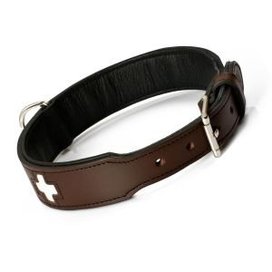 Hunter Hundehalsband Swiss, Collier de chien en cuir, 65, Marron/Noir