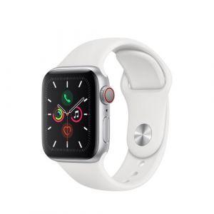 Apple Watch Watch Series 5 GPS + Cellular 40mm, Boitier Aluminium Argent avec Bracelet Sport Blanc - S/M & M/L