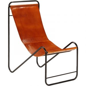 VidaXL Chaise de relaxation Cuir véritable 50x78x90 cm Marron