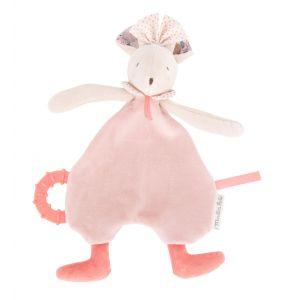 Moulin roty Doudou de dentition souris rose Il était une fois