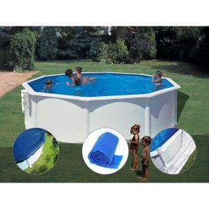Gre Kit piscine acier blanc Bora Bora ronde 4,80 x 1,22 m + Bâche hiver + Bâche à bulles + Tapis de sol