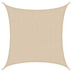Amanka Voile d'ombrage en PE-HD toile carrée de jardin 3x3m pour faire ombre couverture respirant perméable Crème
