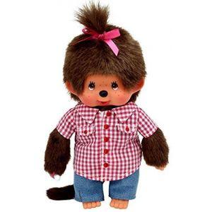 Bandai Peluche Monchhichi fille avec chemise et un jeans 20 cm