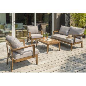 DCB Garden Salon PORTOFINO 4P en aluminium imitation bois - MARRON