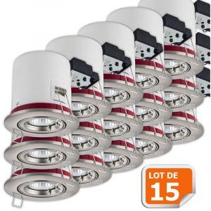 Lampesecoenergie Lot de 15 Support de spot BBC Orientable Alu Brossé 100mm avec douille GU10 et ampoule led Blanc Chaud ref. 819