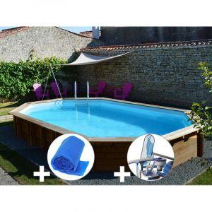 Sunbay Kit piscine bois Safran 6,37 x 4,12 x 1,33 m + Bâche à bulles + Kit d'entretien