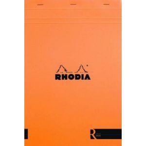 Rhodia 182011C - Bloc R N°18 orange format 21 x 29,7 cm 140 pages agrafées ivoire 90 g/m² détachables, ligné