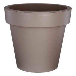 AC-Déco Pot de fleurs rond - Felicia - D 20 x H 18 cm - Plastique - Taupe