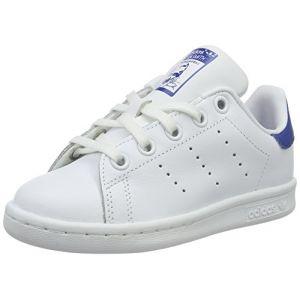Adidas Stan Smith cuir Enfant-33-Blanc Bleu