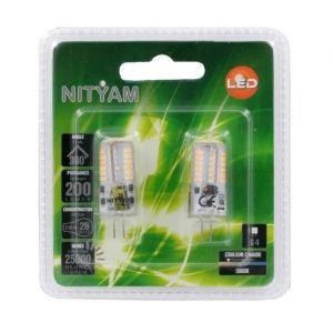 Nityam Pack de 2 capsules Led G4 3W équivalent a 25W - Ampoule 3W équivalent à 25W - Culot : G4 - Couleur : blanc chaud - Flux lumineux : 200lm - Durée : 25000h.