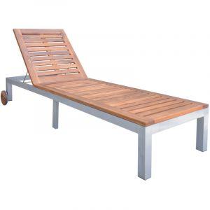 VidaXL Chaise longue 207 x 70 x (31-88) cm en bois d'acacia