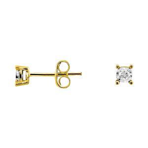 Cleor Boucles d'oreilles en Or 375/1000 Jaune et Diamant Blanc