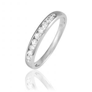 Histoire d'Or Demi-alliance en or 750 ornée de diamants - argent