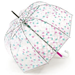 Esprit Parapluie cloche transparente à motifs géométriques roses
