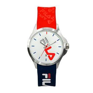 FILA Montre 38-181-005 - Quartz avec date Boitier rond en acier inoxydable Cadran blanc Bracelet bleu et rouge en silicone Homme,Femme