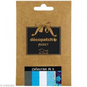 decopatch DP008O - Déco Pocket n°8 : 5 feuilles 30x40 cm, motifs 665, 302, 503, 537, 696